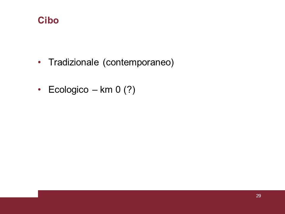 Cibo Tradizionale (contemporaneo) Ecologico – km 0 (?) 29
