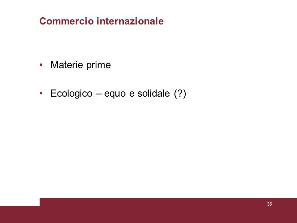 Commercio internazionale Materie prime Ecologico – equo e solidale (?) 35
