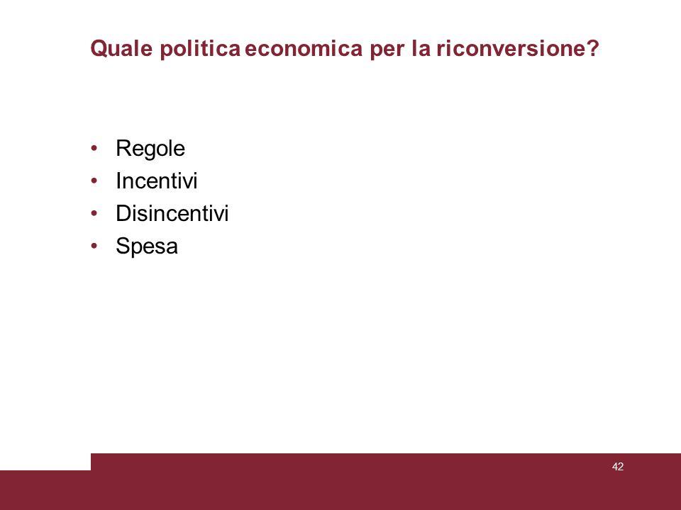Quale politica economica per la riconversione? Regole Incentivi Disincentivi Spesa 42