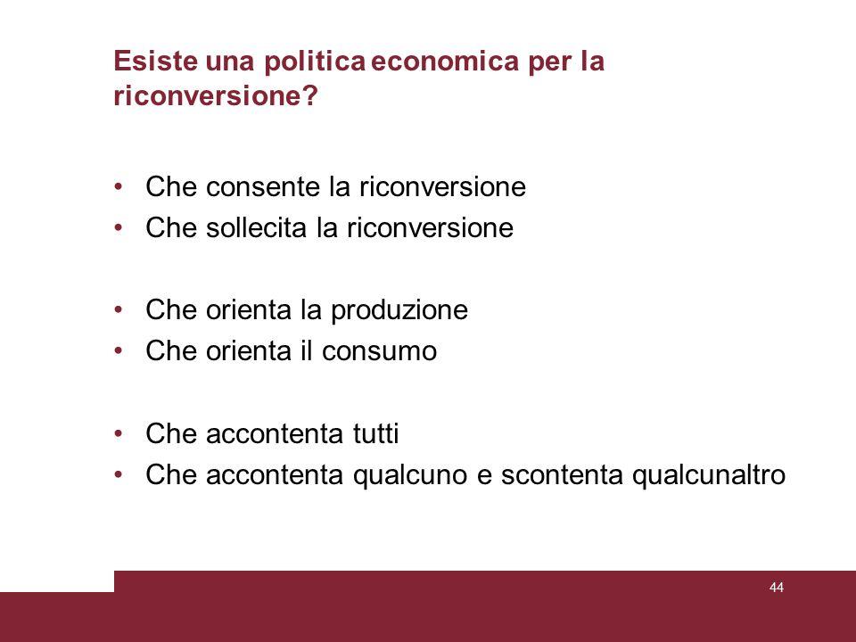Esiste una politica economica per la riconversione.