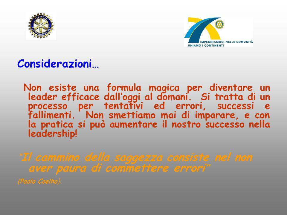 Considerazioni… Non esiste una formula magica per diventare un leader efficace dall'oggi al domani. Si tratta di un processo per tentativi ed errori,