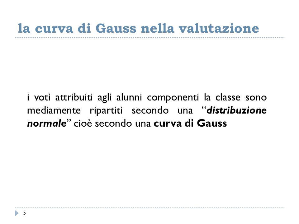 la curva di Gauss nella valutazione i voti attribuiti agli alunni componenti la classe sono mediamente ripartiti secondo una distribuzione normale cioè secondo una curva di Gauss 5