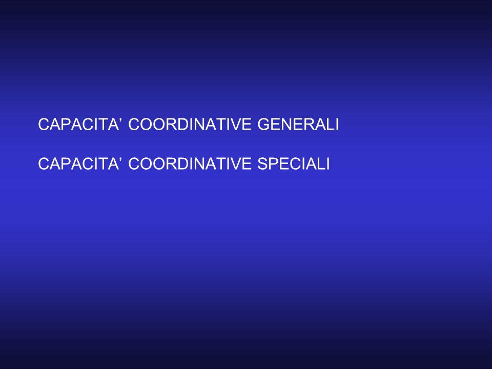 CAPACITA' COORDINATIVE GENERALI CAPACITA' COORDINATIVE SPECIALI