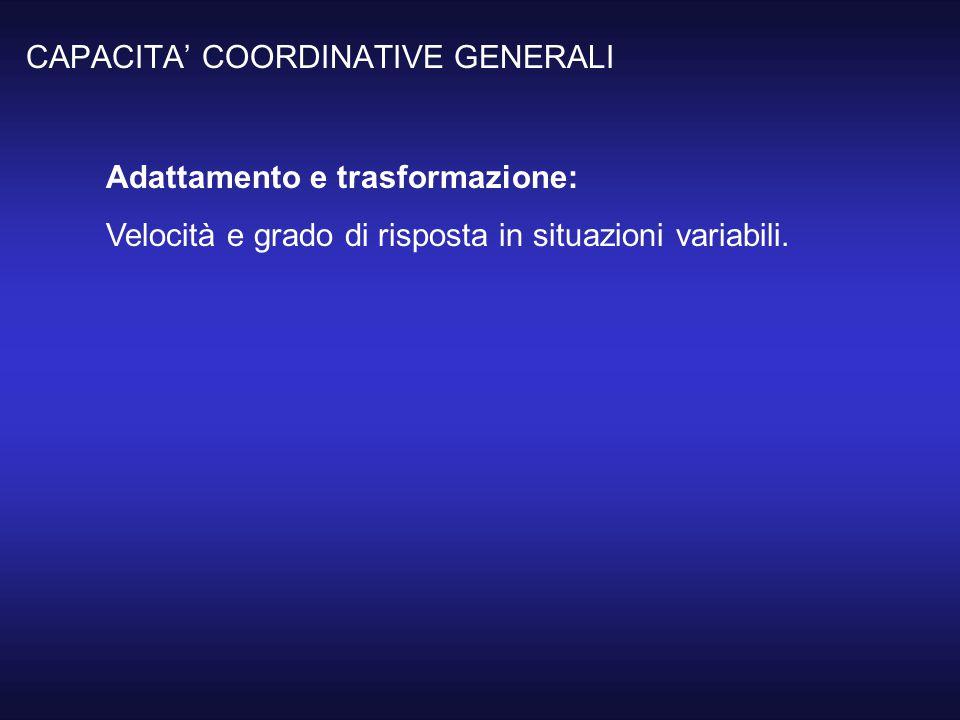 CAPACITA' COORDINATIVE GENERALI Adattamento e trasformazione: Velocità e grado di risposta in situazioni variabili.