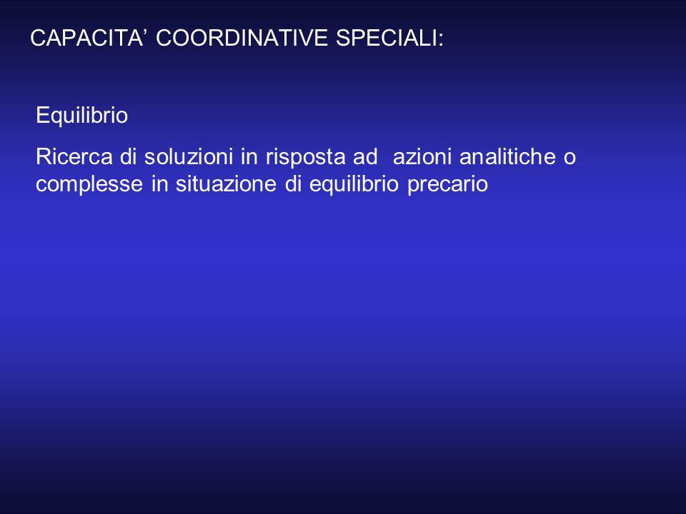 CAPACITA' COORDINATIVE SPECIALI: Equilibrio Ricerca di soluzioni in risposta ad azioni analitiche o complesse in situazione di equilibrio precario
