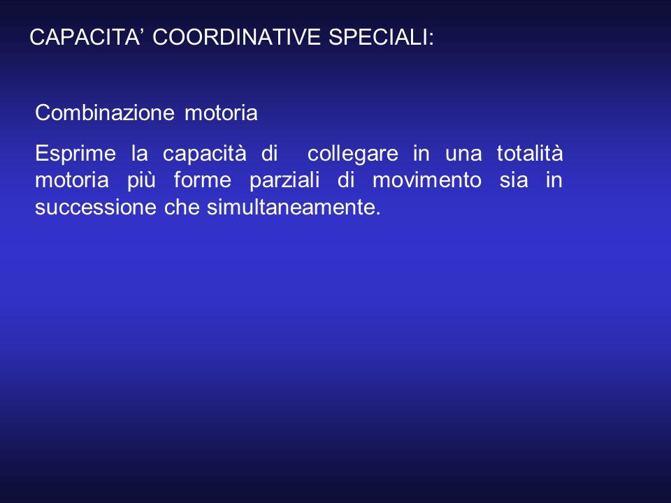 CAPACITA' COORDINATIVE SPECIALI: Combinazione motoria Esprime la capacità di collegare in una totalità motoria più forme parziali di movimento sia in