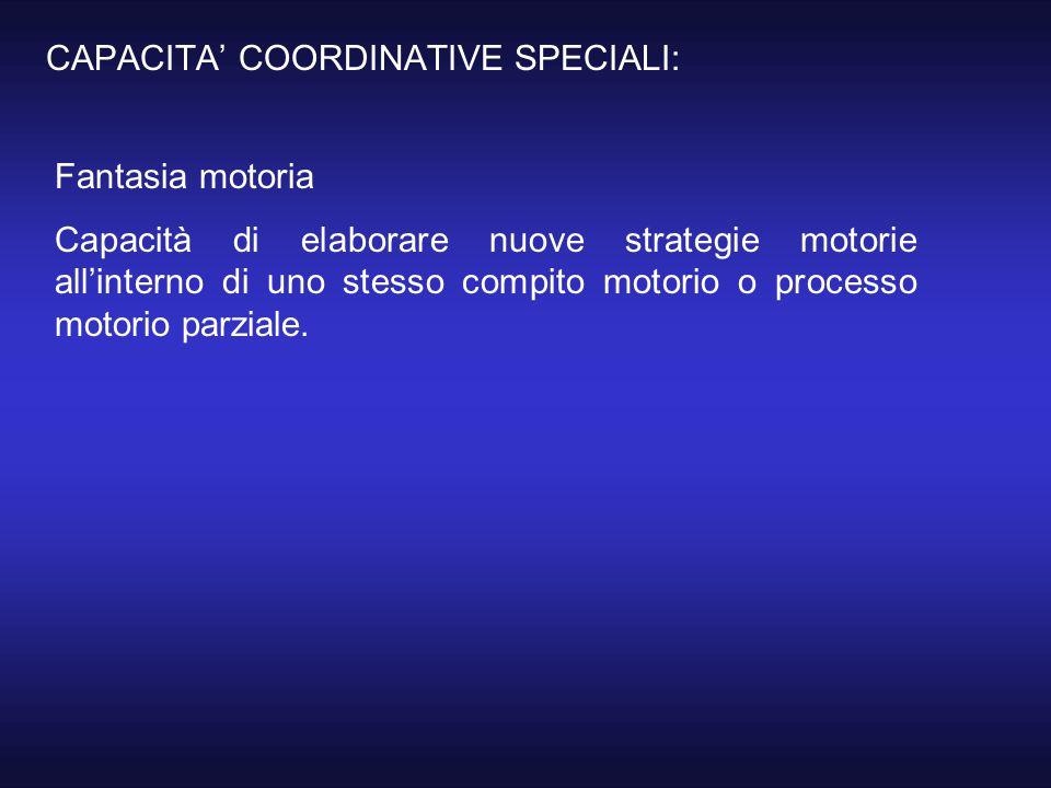 CAPACITA' COORDINATIVE SPECIALI: Fantasia motoria Capacità di elaborare nuove strategie motorie all'interno di uno stesso compito motorio o processo m