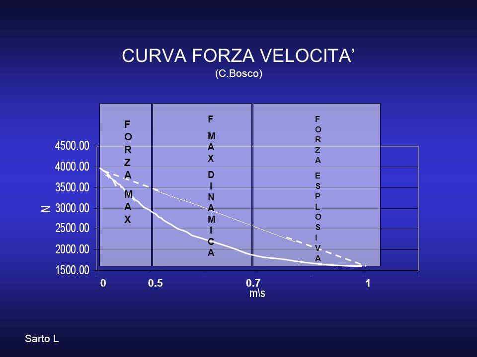 CURVA FORZA VELOCITA' (C.Bosco) FORZAMAXFORZAMAX FMAXDINAMICAFMAXDINAMICA FORZAESPLOSIVAFORZAESPLOSIVA Sarto L 0 0.5 0.7 1
