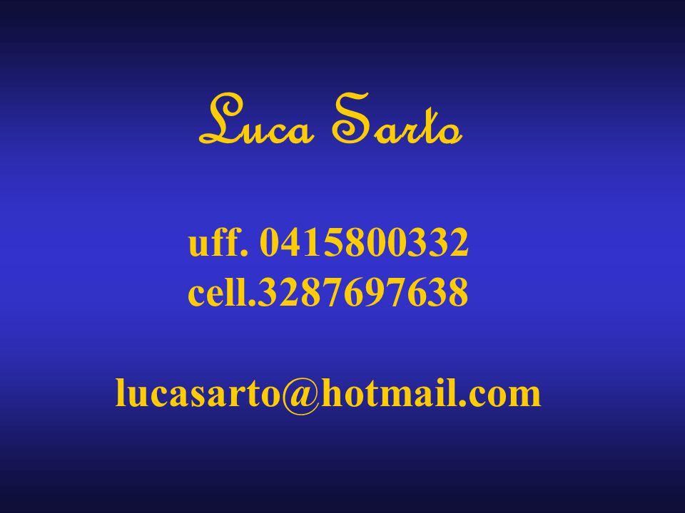 Luca Sarto uff. 0415800332 cell.3287697638 lucasarto@hotmail.com