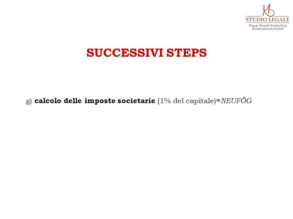 g) calcolo delle imposte societarie (1% del capitale)= NEUFÖG SUCCESSIVI STEPS