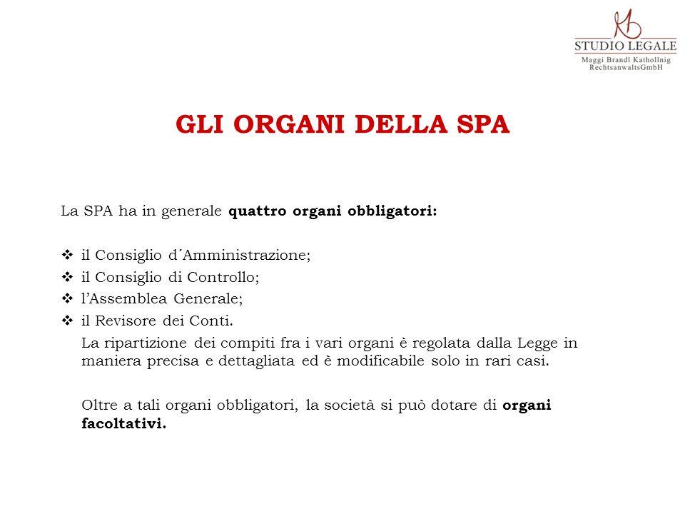 La SPA ha in generale quattro organi obbligatori:  il Consiglio d´Amministrazione;  il Consiglio di Controllo;  l'Assemblea Generale;  il Revisore dei Conti.