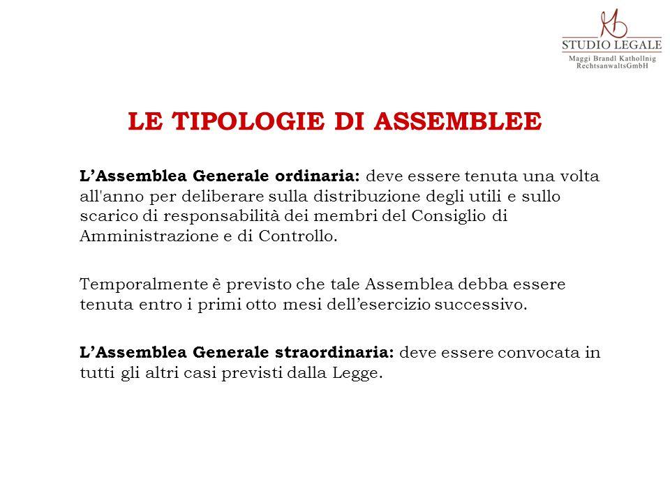 L'Assemblea Generale ordinaria: deve essere tenuta una volta all anno per deliberare sulla distribuzione degli utili e sullo scarico di responsabilità dei membri del Consiglio di Amministrazione e di Controllo.