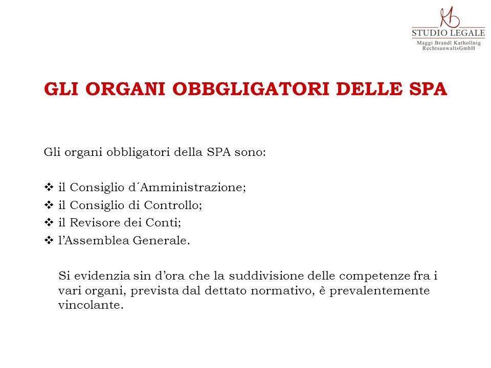 Gli organi obbligatori della SPA sono:  il Consiglio d´Amministrazione;  il Consiglio di Controllo;  il Revisore dei Conti;  l'Assemblea Generale.