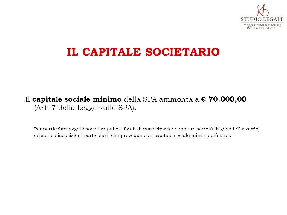 Il capitale sociale minimo della SPA ammonta a € 70.000,00 (Art.