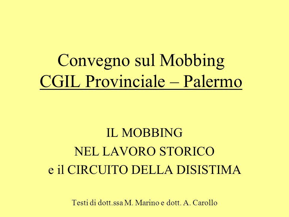 Convegno sul Mobbing CGIL Provinciale – Palermo IL MOBBING NEL LAVORO STORICO e il CIRCUITO DELLA DISISTIMA Testi di dott.ssa M. Marino e dott. A. Car
