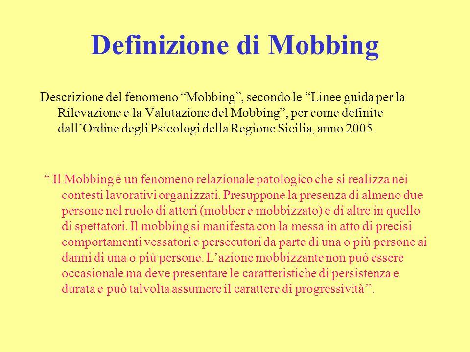 """Definizione di Mobbing Descrizione del fenomeno """"Mobbing"""", secondo le """"Linee guida per la Rilevazione e la Valutazione del Mobbing"""", per come definite"""