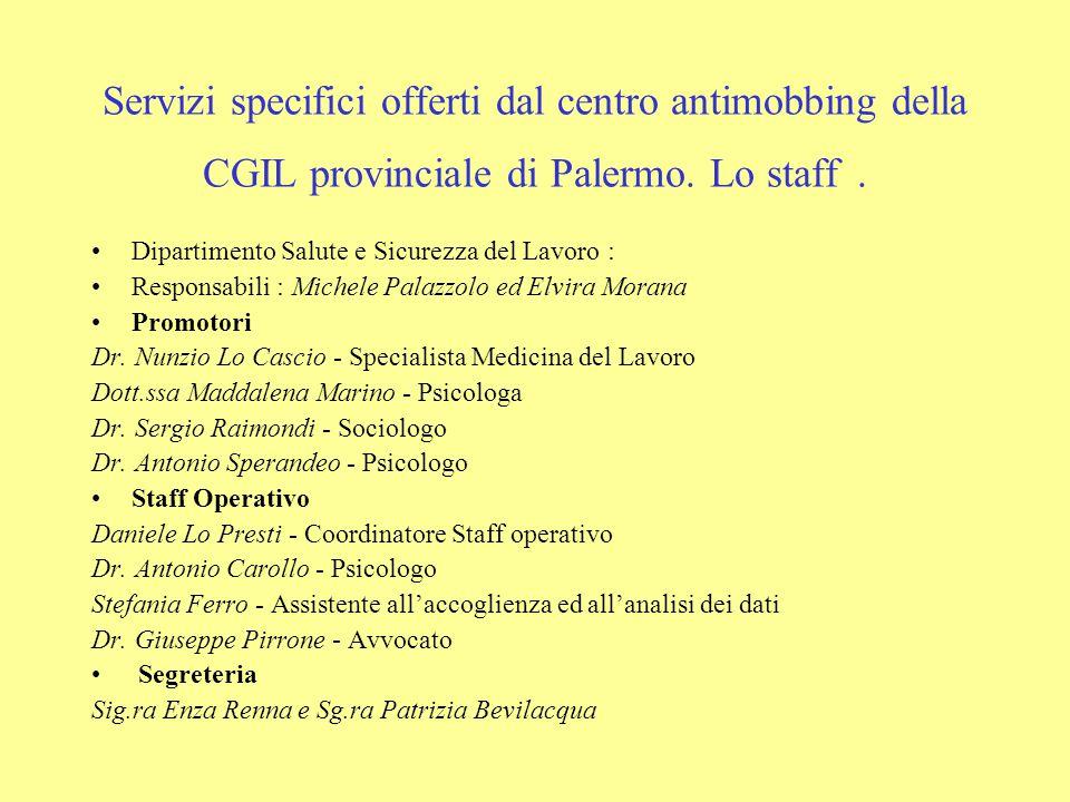 Servizi specifici offerti dal centro antimobbing della CGIL provinciale di Palermo. Lo staff. Dipartimento Salute e Sicurezza del Lavoro : Responsabil