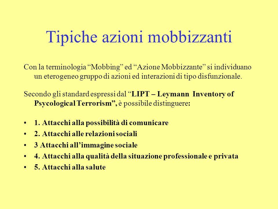 """Tipiche azioni mobbizzanti Con la terminologia """"Mobbing"""" ed """"Azione Mobbizzante"""" si individuano un eterogeneo gruppo di azioni ed interazioni di tipo"""