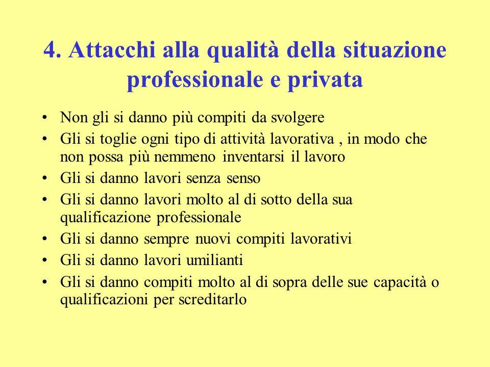 4. Attacchi alla qualità della situazione professionale e privata Non gli si danno più compiti da svolgere Gli si toglie ogni tipo di attività lavorat