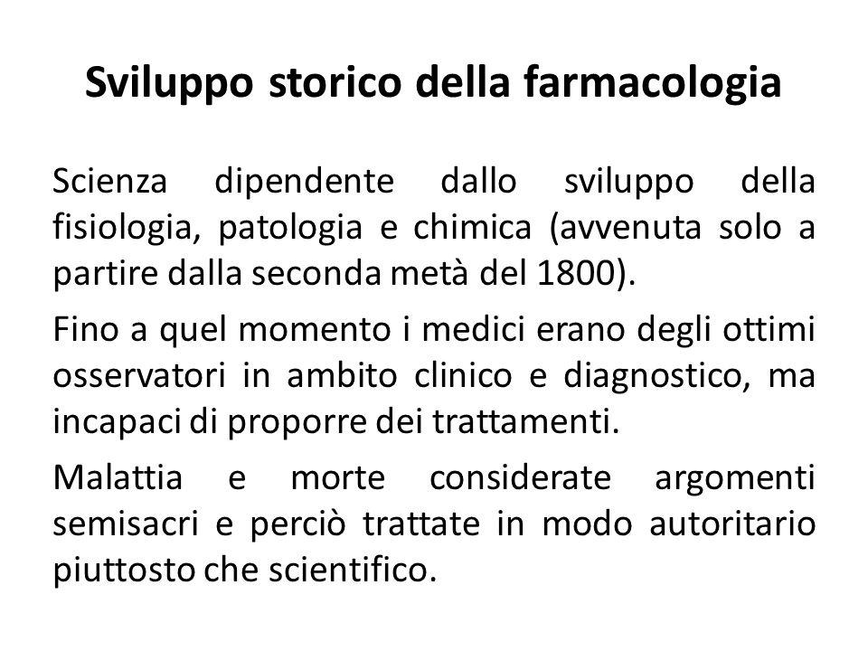 Sviluppo storico della farmacologia Scienza dipendente dallo sviluppo della fisiologia, patologia e chimica (avvenuta solo a partire dalla seconda met