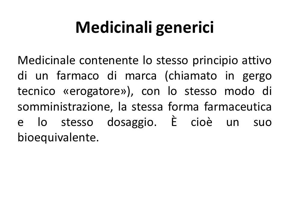 Medicinali generici Medicinale contenente lo stesso principio attivo di un farmaco di marca (chiamato in gergo tecnico «erogatore»), con lo stesso mod