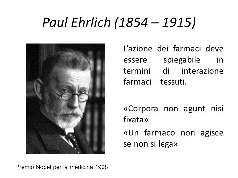 Paul Ehrlich (1854 – 1915) L'azione dei farmaci deve essere spiegabile in termini di interazione farmaci – tessuti. «Corpora non agunt nisi fixata» «U