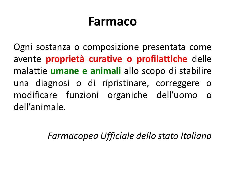 Farmaco Ogni sostanza o composizione presentata come avente proprietà curative o profilattiche delle malattie umane e animali allo scopo di stabilire