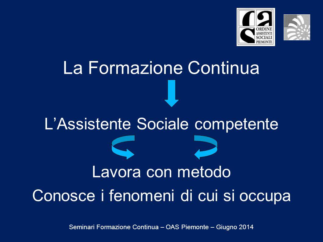 La Formazione Continua L'Assistente Sociale competente Lavora con metodo Conosce i fenomeni di cui si occupa Seminari Formazione Continua – OAS Piemonte – Giugno 2014