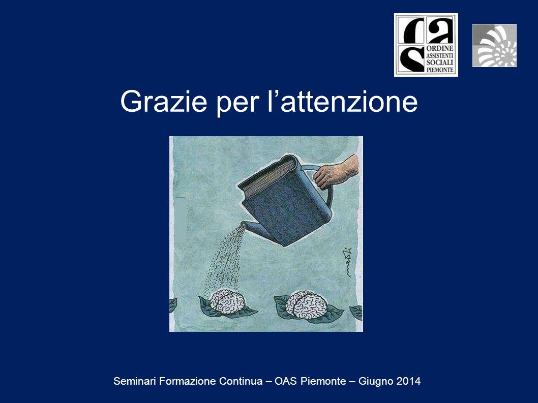Grazie per l'attenzione Seminari Formazione Continua – OAS Piemonte – Giugno 2014