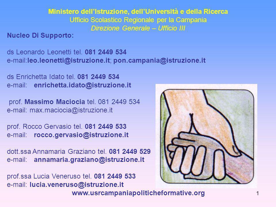 1 Ministero dell'Istruzione, dell'Università e della Ricerca Ufficio Scolastico Regionale per la Campania Direzione Generale – Ufficio III Nucleo Di Supporto: ds Leonardo Leonetti tel.