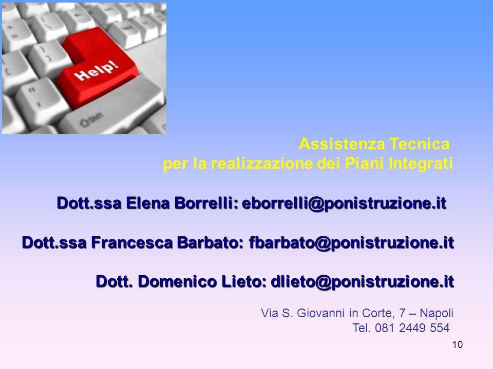 10 Assistenza Tecnica per la realizzazione dei Piani Integrati Dott.ssa Elena Borrelli: eborrelli@ponistruzione.it Dott.ssa Francesca Barbato: fbarbato@ponistruzione.it Dott.