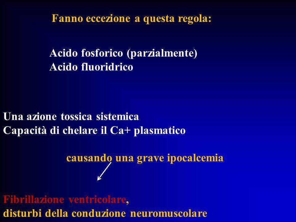 Fanno eccezione a questa regola: Acido fosforico (parzialmente) Acido fluoridrico Una azione tossica sistemica Capacità di chelare il Ca+ plasmatico c