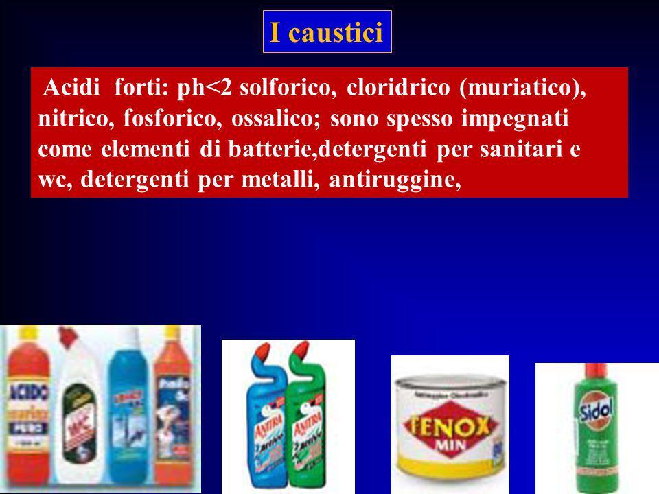 Acidi forti: ph<2 solforico, cloridrico (muriatico), nitrico, fosforico, ossalico; sono spesso impegnati come elementi di batterie,detergenti per sani