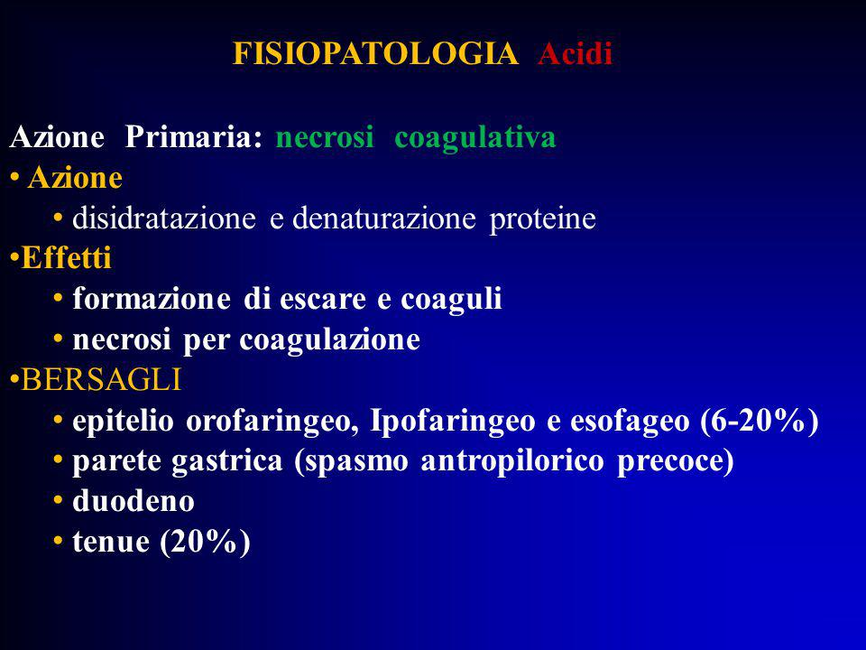 FISIOPATOLOGIA Acidi Azione Primaria: necrosi coagulativa Azione disidratazione e denaturazione proteine Effetti formazione di escare e coaguli necros