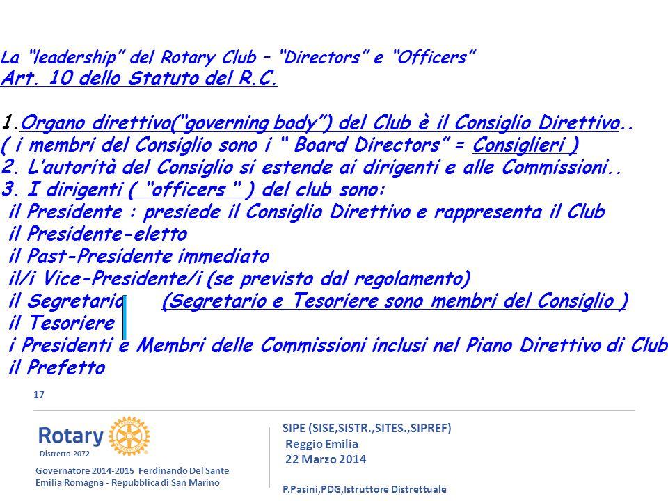 17 SIPE (SISE,SISTR.,SITES.,SIPREF) Reggio Emilia 22 Marzo 2014 P.Pasini,PDG,Istruttore Distrettuale La leadership del Rotary Club – Directors e Officers Art.