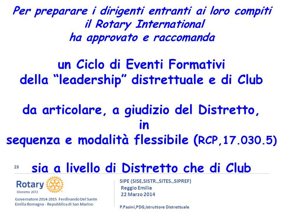 23 SIPE (SISE,SISTR.,SITES.,SIPREF) Reggio Emilia 22 Marzo 2014 P.Pasini,PDG,Istruttore Distrettuale Per preparare i dirigenti entranti ai loro compiti il Rotary International ha approvato e raccomanda un Ciclo di Eventi Formativi della leadership distrettuale e di Club da articolare, a giudizio del Distretto, in sequenza e modalità flessibile ( RCP,17.030.5) sia a livello di Distretto che di Club Governatore 2014-2015 Ferdinando Del Sante Emilia Romagna - Repubblica di San Marino Distretto 2072