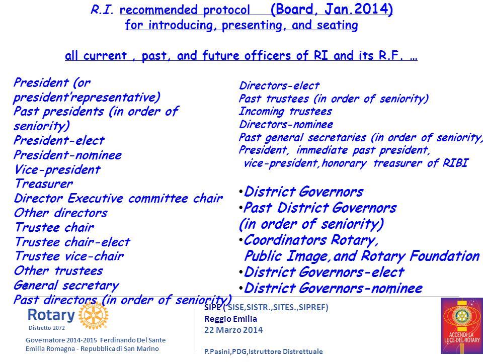 8 SIPE ( SISE,SISTR.,SITES.,SIPREF) Reggio Emilia 22 Marzo 2014 P.Pasini,PDG,Istruttore Distrettuale R.I.