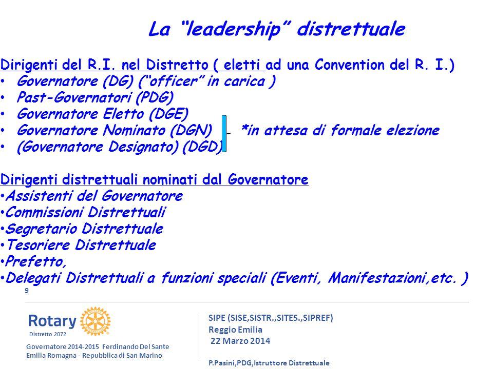 9 SIPE (SISE,SISTR.,SITES.,SIPREF) Reggio Emilia 22 Marzo 2014 P.Pasini,PDG,Istruttore Distrettuale La leadership distrettuale Dirigenti del R.I.