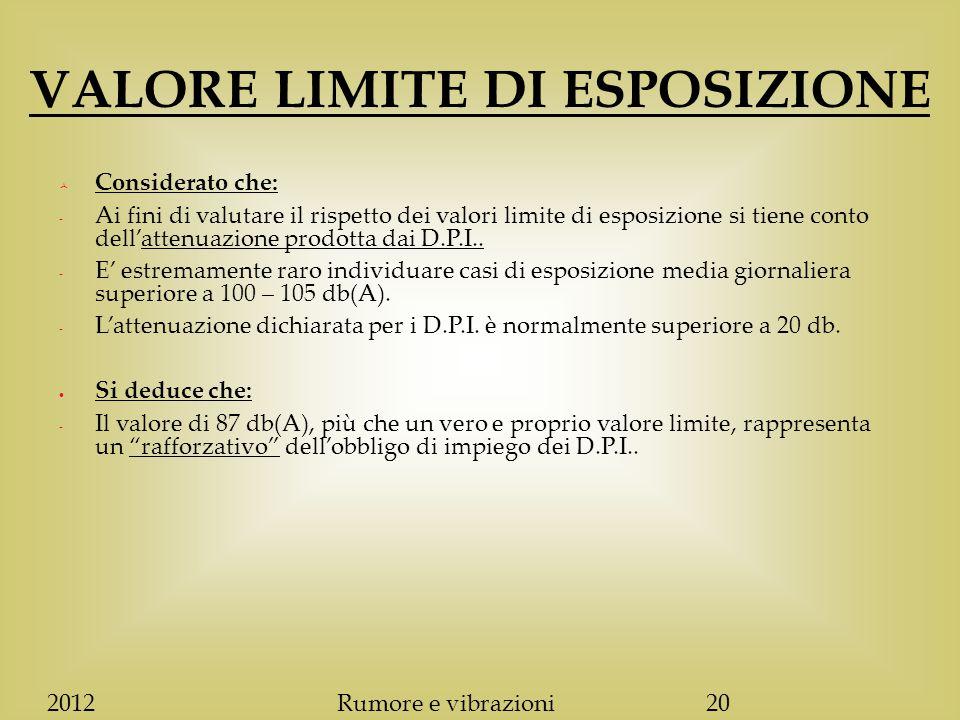 VALORE LIMITE DI ESPOSIZIONE  Considerato che: - Ai fini di valutare il rispetto dei valori limite di esposizione si tiene conto dell'attenuazione prodotta dai D.P.I..