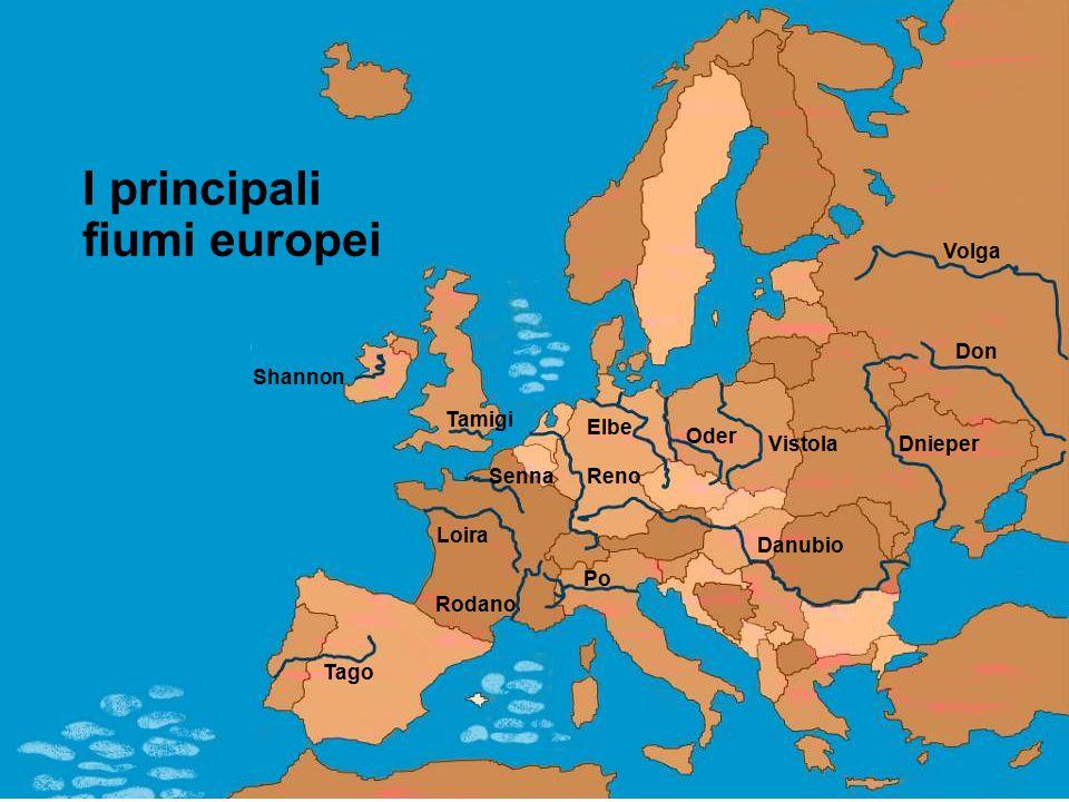 I principali fiumi europei Elbe Oder Vistola Volga Dnieper Danubio Po Rodano Tago Tamigi Shannon Senna Loira Reno Don