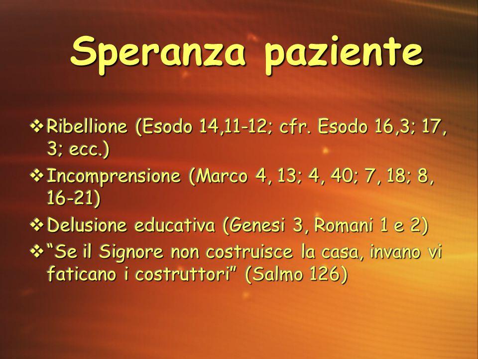  Ribellione (Esodo 14,11-12; cfr. Esodo 16,3; 17, 3; ecc.)  Incomprensione (Marco 4, 13; 4, 40; 7, 18; 8, 16-21)  Delusione educativa (Genesi 3, Ro