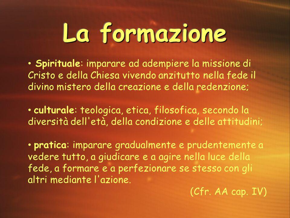 La formazione Spirituale: imparare ad adempiere la missione di Cristo e della Chiesa vivendo anzitutto nella fede il divino mistero della creazione e