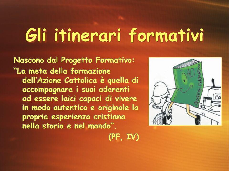 """Gli itinerari formativi Nascono dal Progetto Formativo: """"La meta della formazione dell'Azione Cattolica è quella di accompagnare i suoi aderenti ad es"""