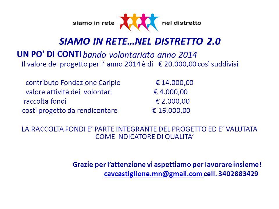 UN PO' DI CONTI Il valore del progetto per l' anno 2014 è di € 20.000,00 così suddivisi contributo Fondazione Cariplo € 14.000,00 valore attività dei volontari € 4.000,00 raccolta fondi € 2.000,00 costi progetto da rendicontare € 16.000,00 LA RACCOLTA FONDI E' PARTE INTEGRANTE DEL PROGETTO ED E' VALUTATA COME NDICATORE Di QUALITA' Grazie per l'attenzione vi aspettiamo per lavorare insieme.