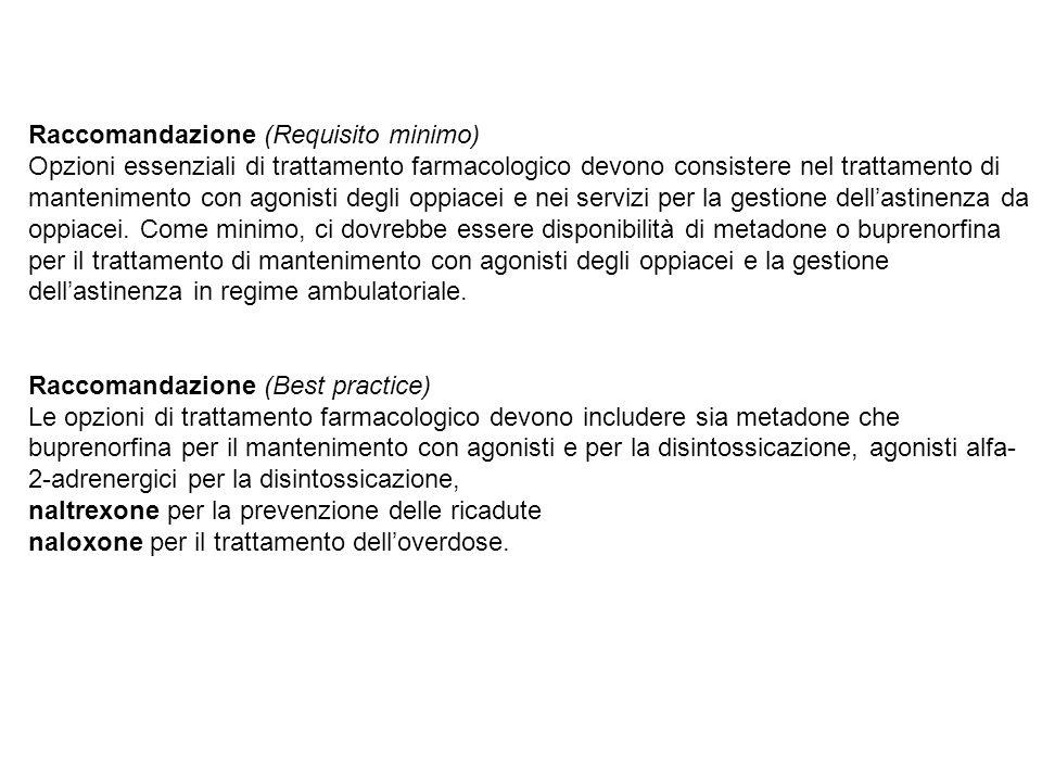 Raccomandazione (Requisito minimo) Opzioni essenziali di trattamento farmacologico devono consistere nel trattamento di mantenimento con agonisti degl