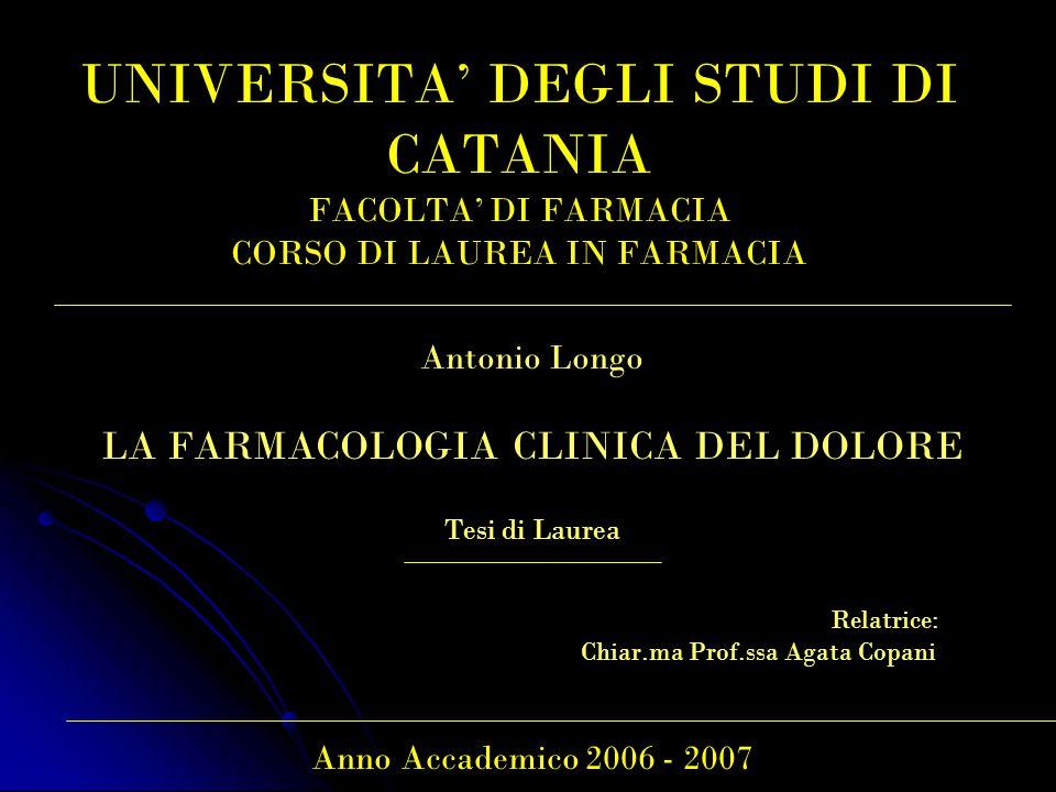 UNIVERSITA' DEGLI STUDI DI CATANIA FACOLTA' DI FARMACIA CORSO DI LAUREA IN FARMACIA Antonio Longo LA FARMACOLOGIA CLINICA DEL DOLORE Tesi di Laurea Relatrice: Chiar.ma Prof.ssa Agata Copani Anno Accademico 2006 - 2007