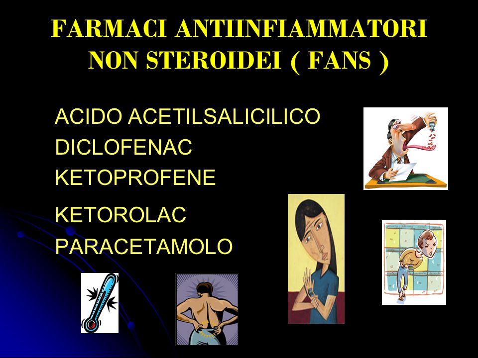 FARMACI ANTIINFIAMMATORI NON STEROIDEI ( FANS ) ACIDO ACETILSALICILICO DICLOFENAC KETOPROFENE KETOROLAC PARACETAMOLO