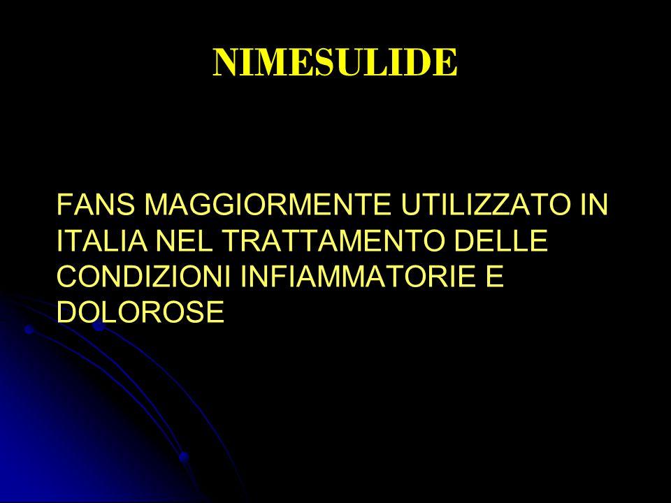 NIMESULIDE FANS MAGGIORMENTE UTILIZZATO IN ITALIA NEL TRATTAMENTO DELLE CONDIZIONI INFIAMMATORIE E DOLOROSE