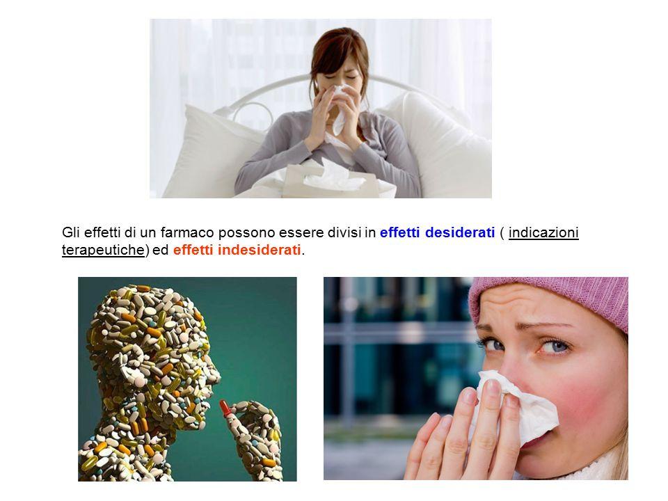 Gli effetti di un farmaco possono essere divisi in effetti desiderati ( indicazioni terapeutiche) ed effetti indesiderati.