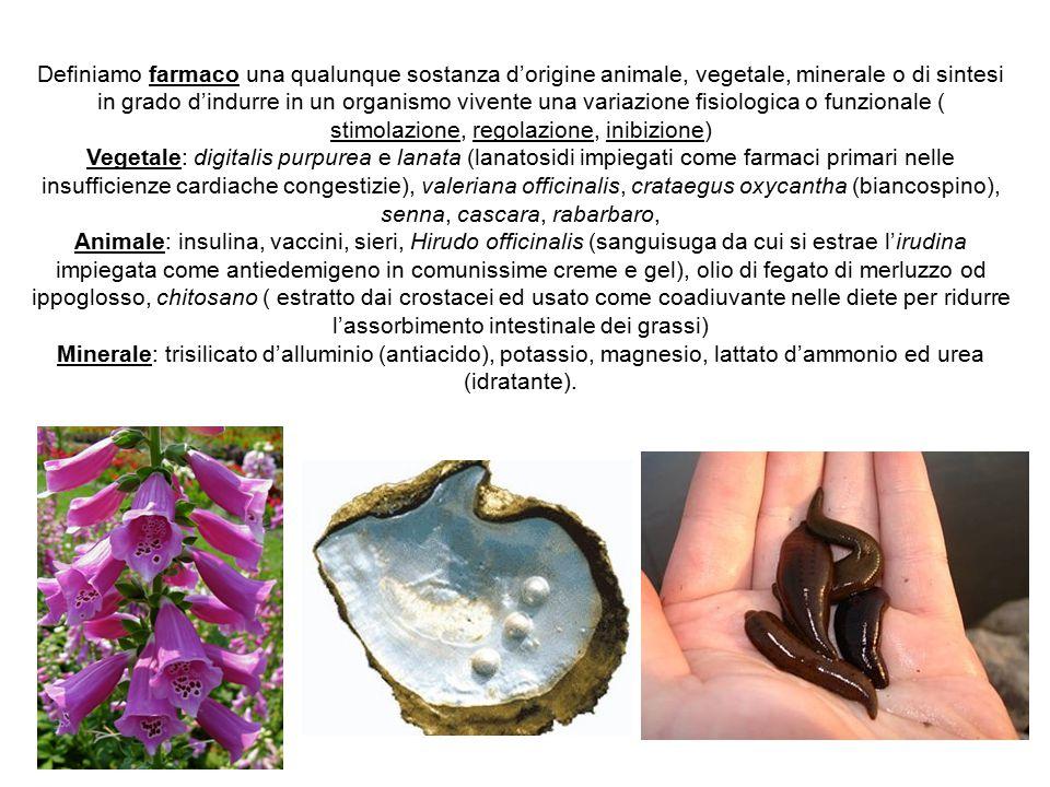 Definiamo farmaco una qualunque sostanza d'origine animale, vegetale, minerale o di sintesi in grado d'indurre in un organismo vivente una variazione